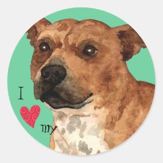 私は私の(犬)スタッフォードのブルテリアを愛します ラウンドシール