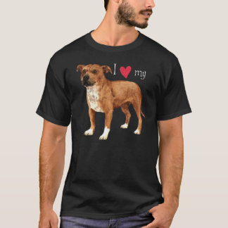 私は私の(犬)スタッフォードのブルテリアを愛します Tシャツ