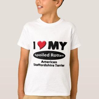私は私の(犬)スタッフォードテリアを愛します Tシャツ