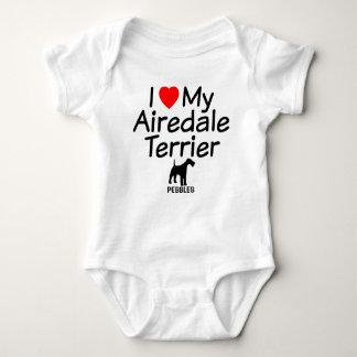 私は私のAiredaleテリア犬を愛します ベビーボディスーツ