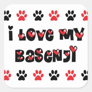 私は私のBasenjiを愛します スクエアシール