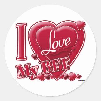 私は私のBFFの赤いハートを愛します ラウンドシール