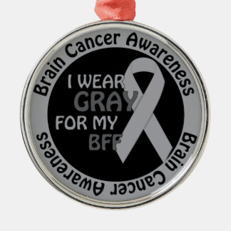 私は私のBFFサポート脳腫瘍のための灰色を身に着けています メタルオーナメント