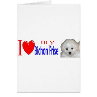 私は私のbichonのfriseの子犬を愛します カード