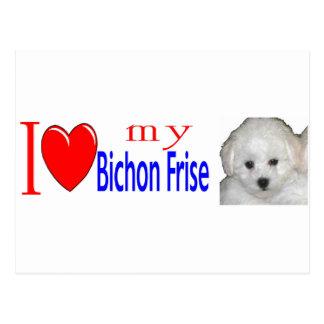私は私のbichonのfriseの子犬を愛します ポストカード