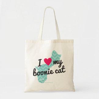 私は私のBoonie猫のトートバックを愛します(青い) トートバッグ