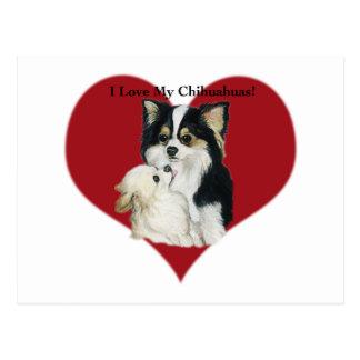 """""""私は私のChhihuahua""""犬の芸術の郵便はがき愛します ポストカード"""