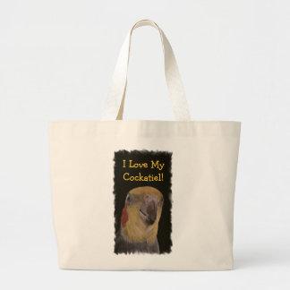 私は私のCockatielを愛します! 鳥 ラージトートバッグ