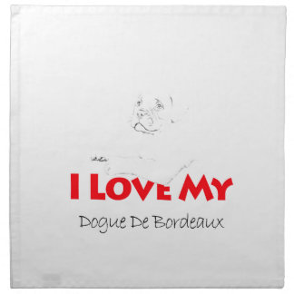 私は私のDogue de sketch Bordeauxを愛します ナプキンクロス