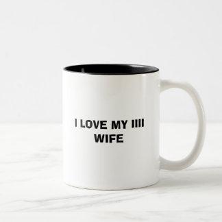 私は私のIIII妻を愛します ツートーンマグカップ