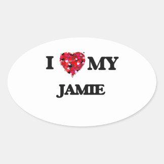 私は私のJamieを愛します 楕円形シール