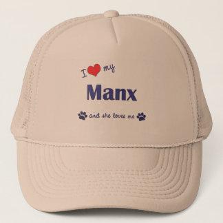 私は私のManx愛します(メス猫) キャップ