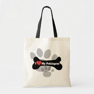 私は私のPekingese -犬用の骨--を愛します トートバッグ