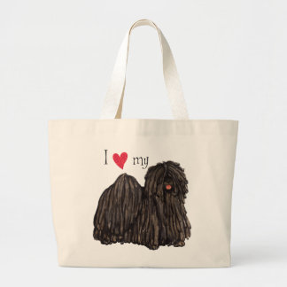 私は私のPuliを愛します ラージトートバッグ