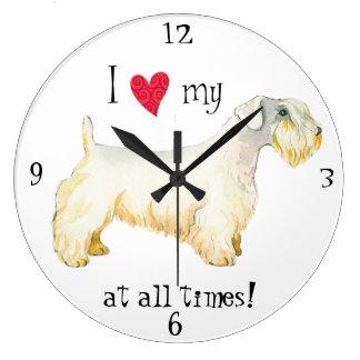 私は私のSealyhamテリアを愛します ラージ壁時計