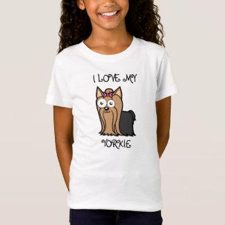 私は私をのヨークシャーテリアの女の子のベビードールのティー愛します Tシャツ