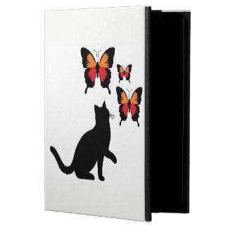 私は空気箱の美しい黒猫および蝶にパッドを入れます POWIS iPad AIR 2 ケース