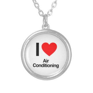 私は空気調節を愛します シルバープレートネックレス