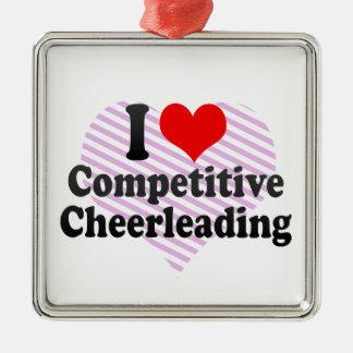 私は競争のチアリーティングを愛します メタルオーナメント