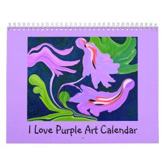 私は紫色の抽象美術を愛します カレンダー