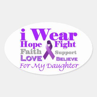 私は紫色を身に着けています-私の娘に癲癇があります 楕円形シール