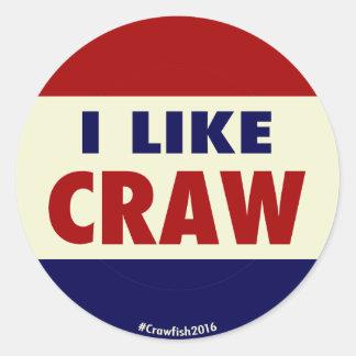 私は胃袋を好みます! #Crawfish2016ステッカー ラウンドシール