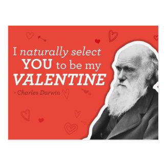 私は自然に私のバレンタイン-ダーウィンであるために選びます ポストカード