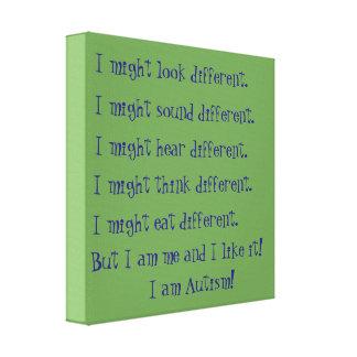 私は自閉症です。 感動的な相違 キャンバスプリント