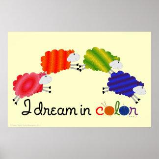 私は色のヒツジポスターで夢を見ます ポスター