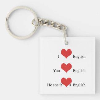私は英国文法TESOL ESLの先生学生を愛します キーホルダー