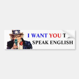 私は英語を話してほしいです バンパーステッカー
