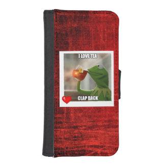 私は茶拍手のiPhone、銀河系の携帯電話の箱を愛します iPhoneSE/5/5sウォレットケース