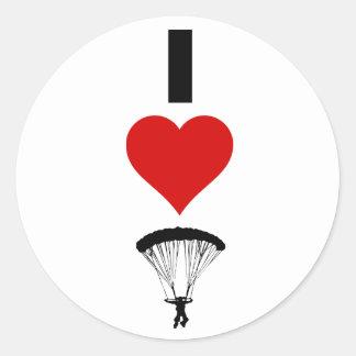 私は落下傘で降りることを愛します(垂直) ラウンドシール