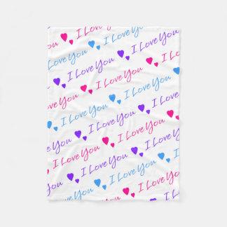 私は虹のバレンタインデーのハート愛します フリースブランケット