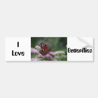私は蝶バンパーステッカーを愛します バンパーステッカー