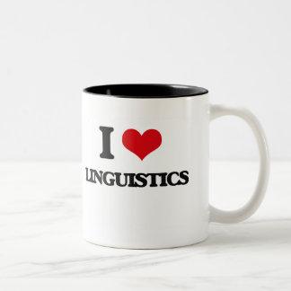 私は言語学を愛します ツートーンマグカップ