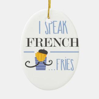 私は話しますフランス語を… 揚げ物 セラミックオーナメント