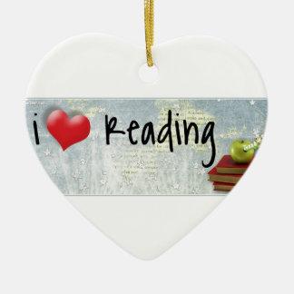 私は読むことを愛します セラミックオーナメント