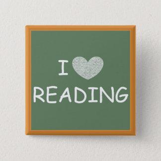 私は読むことを愛します 5.1CM 正方形バッジ