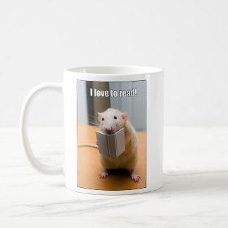 私は読むことを愛します!  Martyのマウスのマグ コーヒーマグカップ
