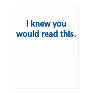 私は読むことを知っています ポストカード