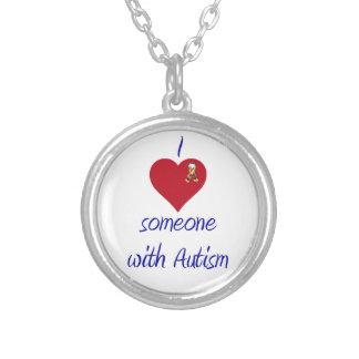 私は誰かをwの自閉症愛します シルバープレートネックレス
