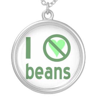 私は豆を憎みます シルバープレートネックレス