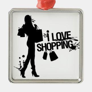 私は買物をすることを愛します シルバーカラー正方形オーナメント