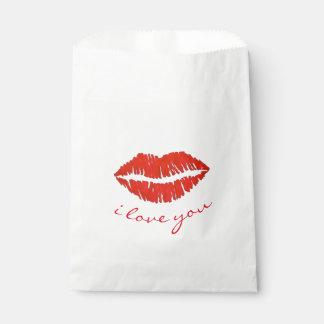 私は赤い唇の口紅のキスのバレンタインデー愛します フェイバーバッグ