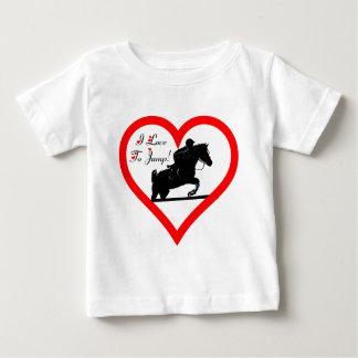 私は跳ぶことを愛します! 馬とのハート ベビーTシャツ