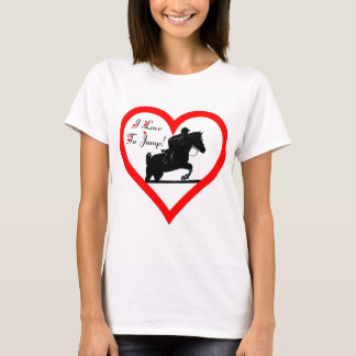 私は跳ぶことを愛します! 馬とのハート Tシャツ