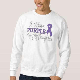 私は身に着けています私の娘(紫色のリボン)のための紫色を スウェットシャツ