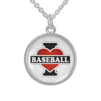 私は野球を愛します スターリングシルバーネックレス