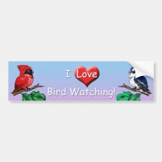 私は野鳥観察のバンパーステッカーを愛します バンパーステッカー